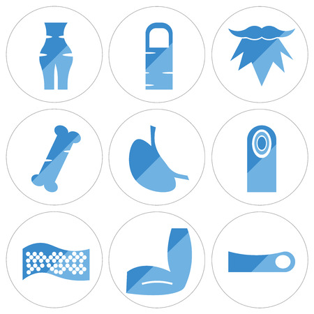 Set Of 9 simple editable icons such as Human Toe, Men Elbow, Cellulite, Fingerprint, Stomach with Liquids, Bone, Beard, Finger, Abdomen, can be used for mobile, web