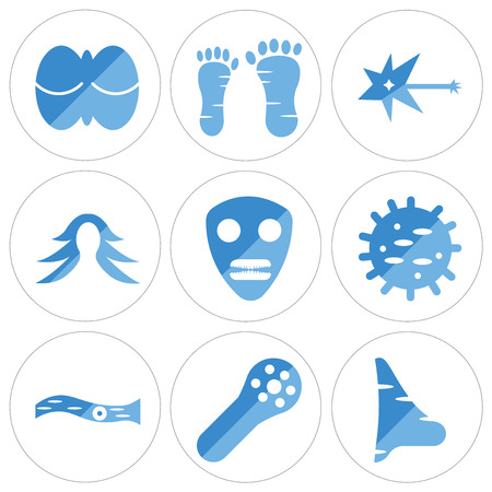Set of 9 simple editable icons such as big nose, muscle fiber, rod cell, cellulose, skull side view, female hair, neuron, human foot, cerebellum, can be used for mobile, web.
