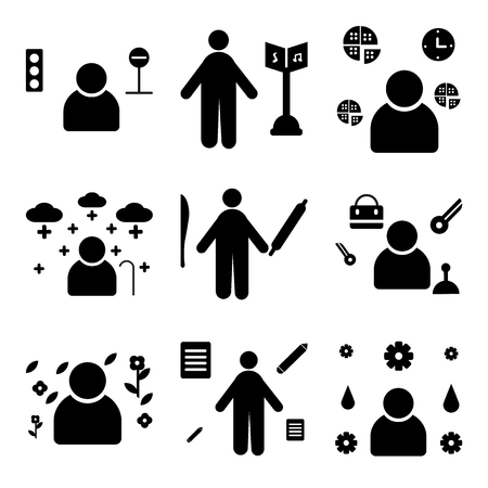 Set Of Simple Editable Icons Such As Plumber De Gardener