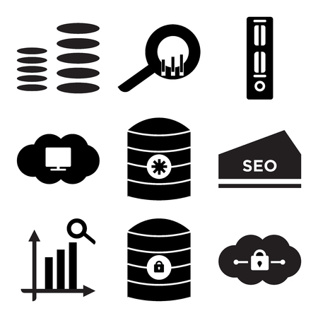 Set of 9 simple editable icons such as cloud, server key