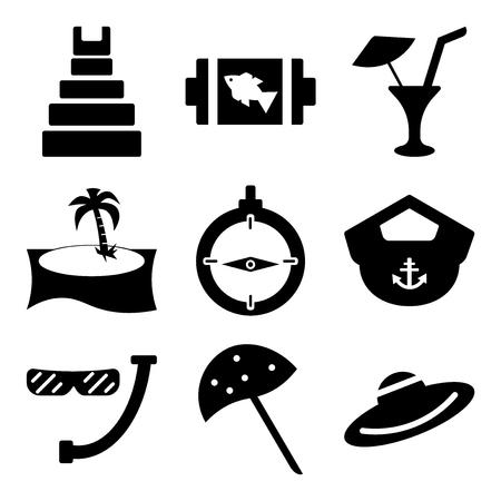 Set of 9 simple editable beach icons