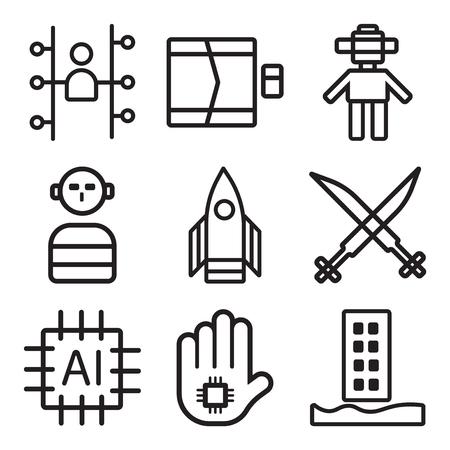 Set of 9 simple digital editable icons