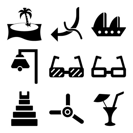 Set Of 9 simple editable travel icons