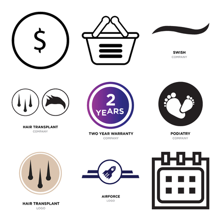 94b1b50e Set Of 9 simple editable icons such as Calendar, Airforce, hair transplant,  podiatry