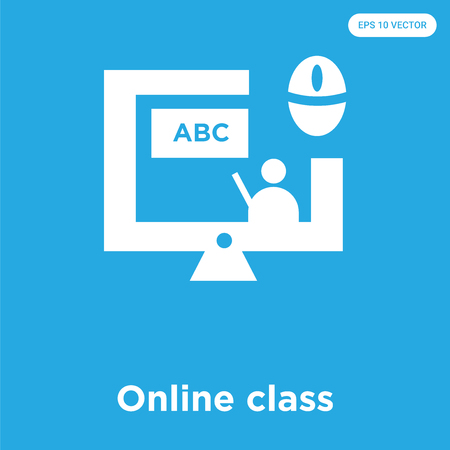 Illustration pour Online class vector icon isolated on blue background, sign and symbol, Online class icons collection - image libre de droit