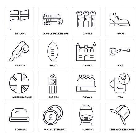 Illustration pour Set Of 16 icons such as  Subway, Pound sterling, Bowler, Tea, England, Cricket, United kingdom, Castle, web UI editable icon pack, pixel perfect - image libre de droit