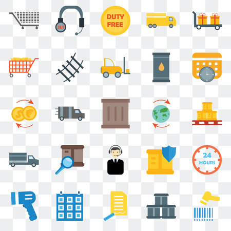 Set Of 25 transparent icons such as Barcode scanner, Box