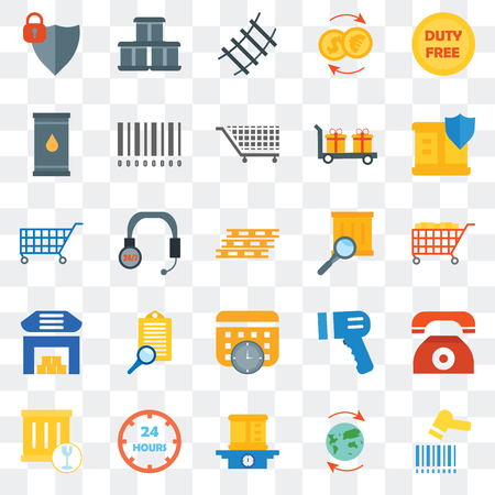 Set Of 25 transparent icons such as Barcode scanner, Worldwide