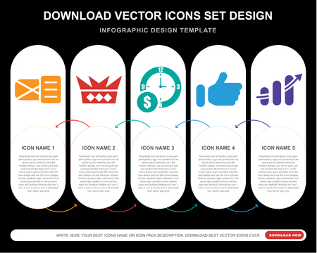 Illustration pour 5 vector icons such as Email opened envelope, Royalties, Dollar on business time, Thumb up filled gesture, Finances stats bars graphic with arrow for infographic, layout, annual report, pixel - image libre de droit