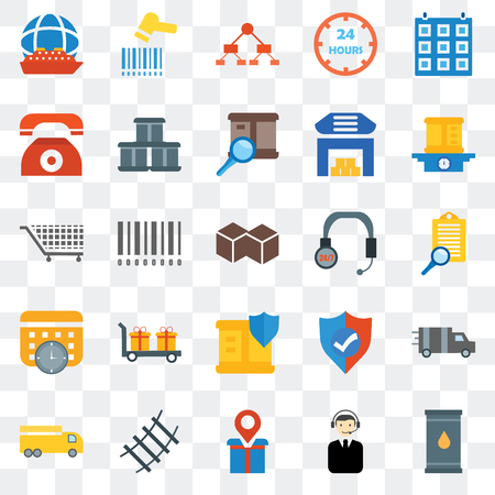 Set Of 25 transparent icons such as Barrel, Clipboard, Package