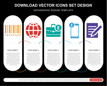 5 vector icons such as Barscode with zeros, Global, Pounds bag of business, Euro digital commerce, Note for infographic, layout, annual report, pixel perfect icon