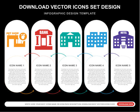 5 vector icons such as Pet shop, Bank, Building, Hotel for