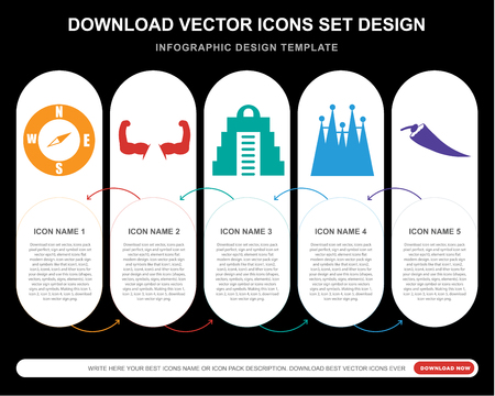 Ilustración de 5 vector icons such as Compass Pointing south East, Biceps of a man, Maya pyramid,  Familia building, Hot chilli pepper for infographic, layout, annual report, pixel perfect icon - Imagen libre de derechos
