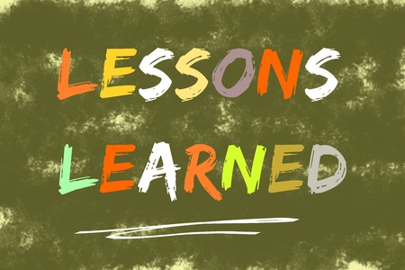 Lessons learned text written over dark green background