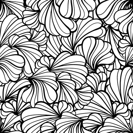 Ilustración de Abstract black and white floral shapes vector seamless pattern. - Imagen libre de derechos