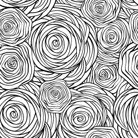 Illustration pour Hand-drawn stylized graphic roses black and white seamless pattern. - image libre de droit