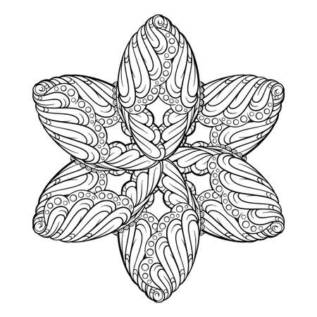Illustration for Black and white ethnic style floral mandala pattern for antistress coloring. Star shape. Abstract coloring page. - Royalty Free Image