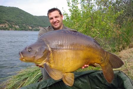 Foto de lucky fisherman holding a giant leather carp - Imagen libre de derechos