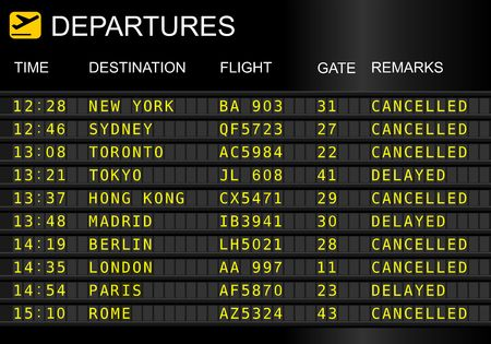 Photo pour Flight departures board isolated on white background. Cancelled and delayed flights - image libre de droit