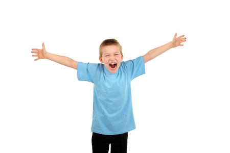screaming boy spreading hands isolated on the white