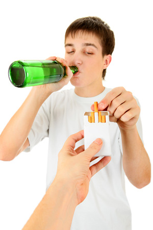Young Man with a Beer take a Cigarette on the White Background