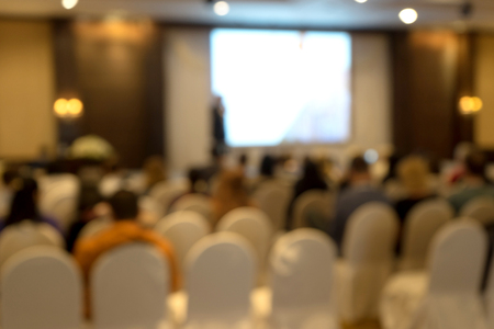 Blur of seminar room in convention hall , hotel or big room