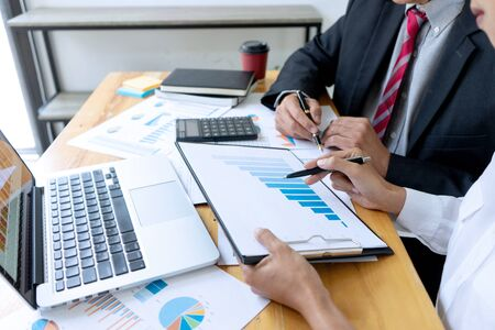 Businessman coaching office staff for business marketing plan