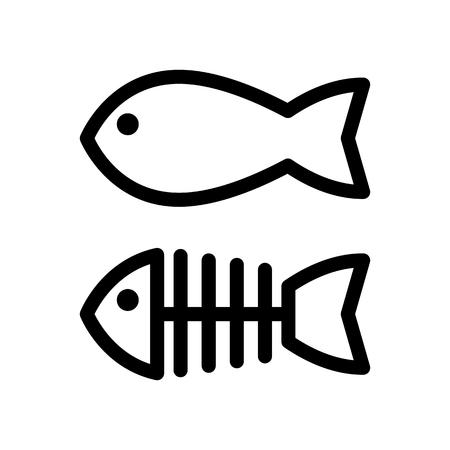 Vektor für Fish and skeleton simple vector icon. Black and white illustration of fish bones. Outline linear icon. - Lizenzfreies Bild