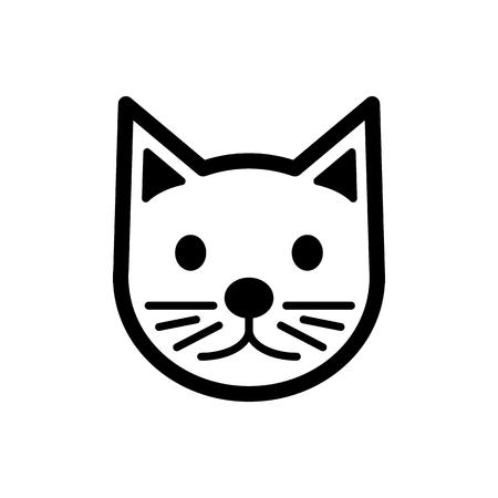 Illustration pour Cat simple vector icon. Black and white illustration of cat. Outline linear cat head icon. eps 10 - image libre de droit