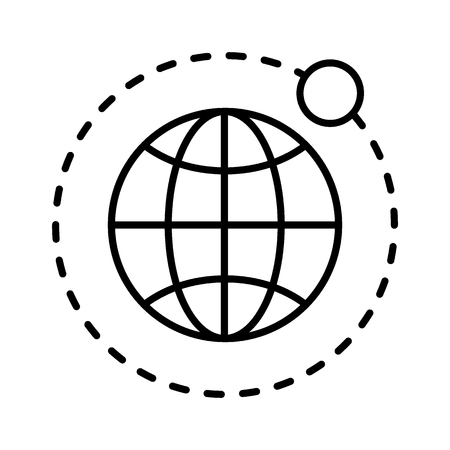 Earth and moon thin line icon. Globe vector illustration isolated on white. Planet outline style design, designed for web and app.