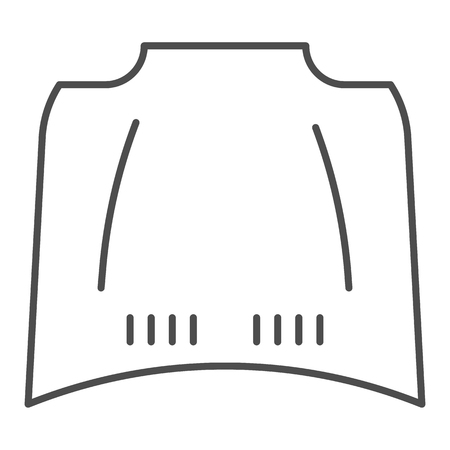 Illustration for Car hood thin line icon. Car bonnet vector illustration isolated on white. Automobile hood outline style design, designed for web and app. Eps 10 - Royalty Free Image