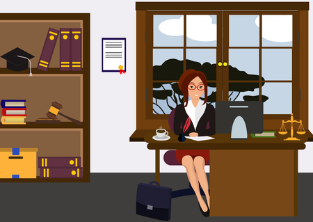 Illustration pour Woman lawyer at her work desk. Beautiful young girl sitting at the table, working with pc. Cartoon cute design. Businesswoman flat style. Colorful vector illustration - image libre de droit