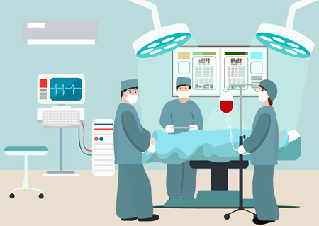 Illustration for Vector Illustration of operating room. Surgeon team at work in operating room. Medical surgery flat composition with doctors and patient. Surgeons in operation theater. Man under anaesthesia - Royalty Free Image