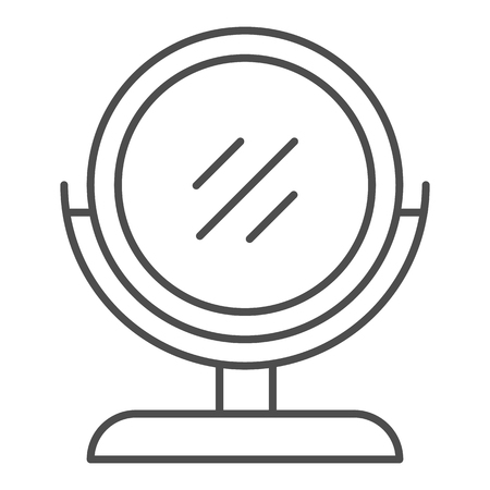 Illustration for Round makeup mirror thin line icon. Desk mirror vector illustration isolated on white. Table mirror outline style design, designed for web and app. Eps 10. - Royalty Free Image
