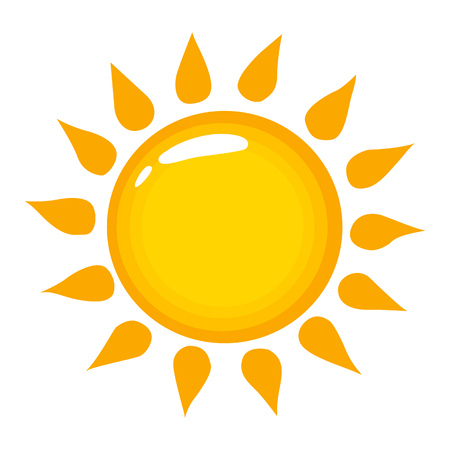 Illustration for Sun vector icon on a white background. Shining sun illustration isolated on white. Sunbeam realistic style design, designed for web and app. Eps 10. - Royalty Free Image
