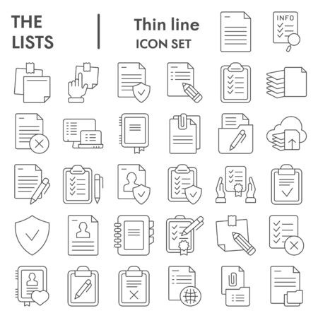 Illustration pour Lists thin line icon set, documents symbols collection, vector sketches, logo illustrations, paper signs linear pictograms package isolated on white background, eps 10. - image libre de droit