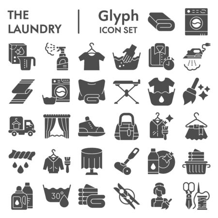 Illustration pour Laundry glyph icon set, washing clothes symbols collection, vector sketches, logo illustrations, housework signs solid pictograms package isolated on white background,  . - image libre de droit