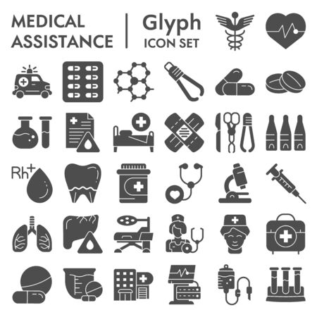 Illustration pour Medical assistance glyph icon set, healthcare symbols collection, vector sketches,  illustrations, medicine equipment signs solid pictograms package isolated on white background, eps 10. - image libre de droit