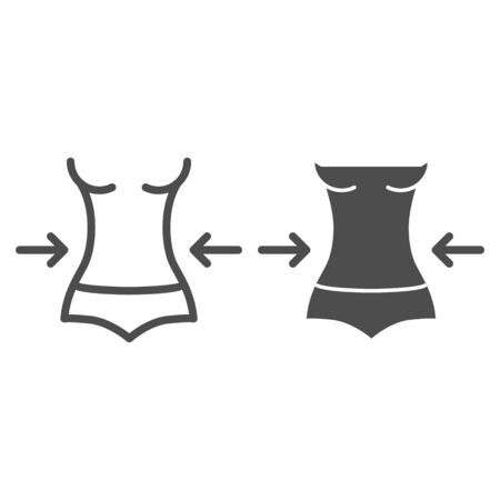 Illustration for Weight loss line and glyph icon. Fitness vector illustration isolated on white. Female figure outline style design, designed for web and app. Eps 10. - Royalty Free Image