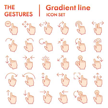 Illustration pour Gestures flat icon set, hand symbols collection, vector sketches, logo illustrations, tap signs gradient pictograms package isolated on white background, eps 10. - image libre de droit
