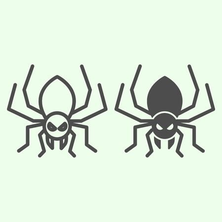 Illustration pour Halloween spider line and solid icon. Scary spider silhouette outline style pictogram on white background. Halloween and mystery sign for mobile concept and web design. Vector graphics - image libre de droit