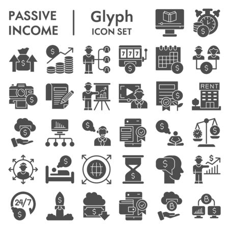 Illustration pour Passive income business solid icon set. Financial investment signs collection, sketches, logo illustrations, web symbols, glyph style pictograms package isolated on white background. Vector graphics. - image libre de droit