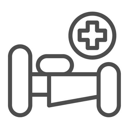 Illustration pour Hospital bed with cross line icon, Medical concept, emergency service sign on white background, hospital sign with bed and cross in outline style for mobile and web design. Vector graphics. - image libre de droit