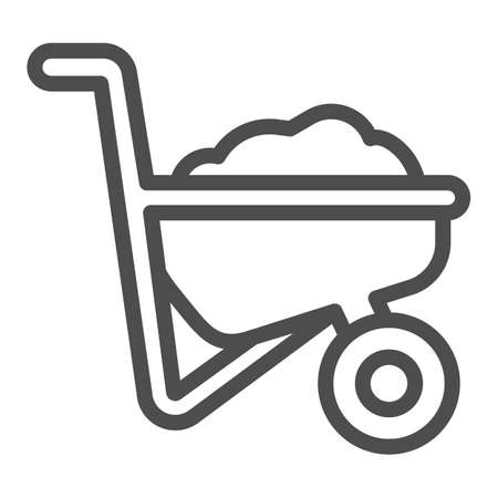 Illustration for Wheelbarrow with ground line icon, farm garden concept, Wheelbarrow cart sign on white background, trolley with ground icon in outline style for mobile and web design. Vector graphics. - Royalty Free Image