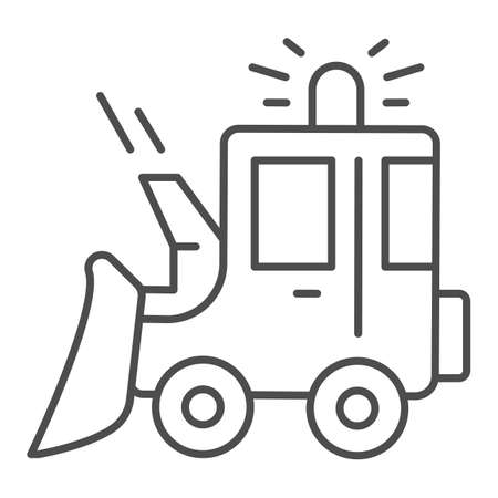 Illustration pour Snowblower thin line icon, Winter season concept, snow removal machine sign on white background, snow plow tractor icon in outline style for mobile concept and web design. Vector graphics. - image libre de droit