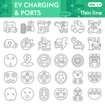 Illustration for Electric car thin line icon set, Electric vehicle symbols collection or sketches. Eco transport linear style signs for web and app. Vector graphics isolated on white background. - Royalty Free Image