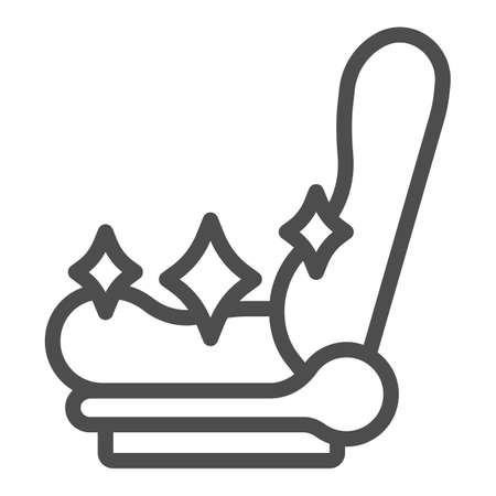 Illustration pour Clean car seat line icon, car washing concept, shiny car seat sign on white background, vehicle chair cleaning icon in outline style for mobile concept and web design. Vector graphics. - image libre de droit