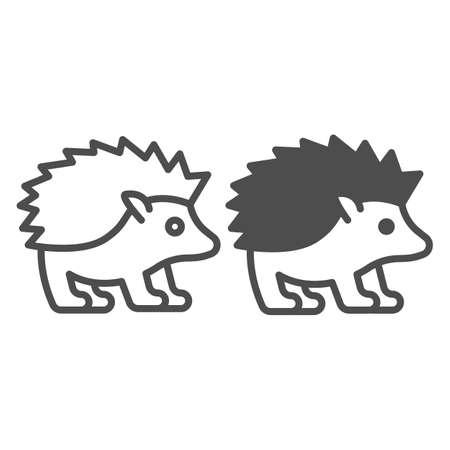 Illustration pour Hedgehog line and solid icon, worldwildlife concept, hedgehog vector sign on white background, hedgehog outline style for mobile concept and web design. Vector graphics. - image libre de droit