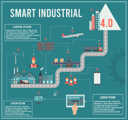 Illustration pour Smart industry 4.0 info graphic with Smart Manufacturing and Artificial intelligence concept. Vector illustration. - image libre de droit