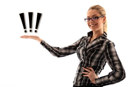 attractive girl holding sign in hand. studio shot